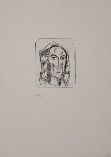 Weiblicher Kopf Mit Tuch by Georg Tappert