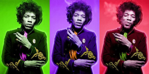 Jimi Smoking Colour Triptych by Gered Mankowitz at Gered Mankowitz