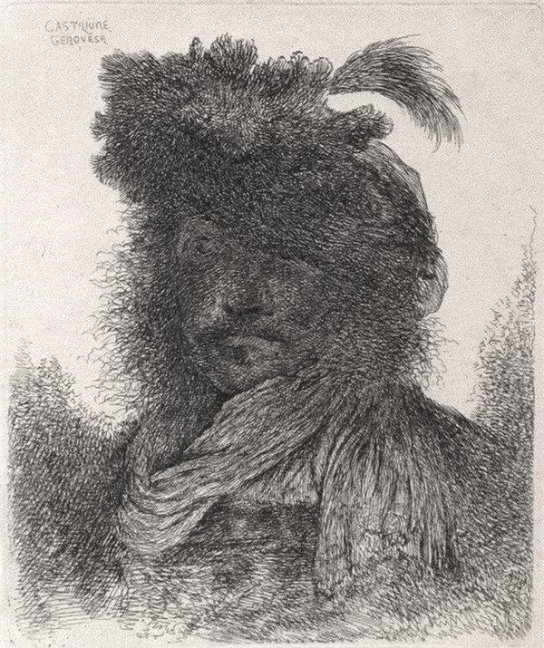 Bearded Man With Shadowed Face by Giovanni Benedetto Castiglione