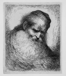 Bearded Old Man With His Head Leaning Forward, Wearing A Skullcap, Facing Right by Giovanni Benedetto Castiglione at Stanza del Borgo (IFPDA)