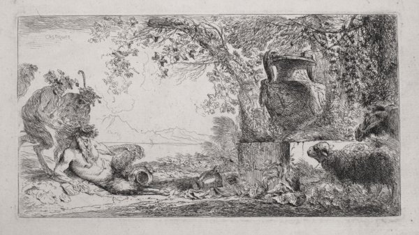 Pan Reclining Before An Urn by Giovanni Benedetto Castiglione at