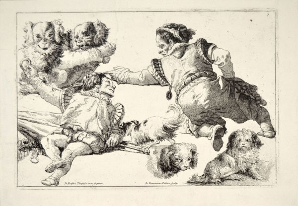 Dwarves And Dogs Ii by Giovanni Domenico Tiepolo at