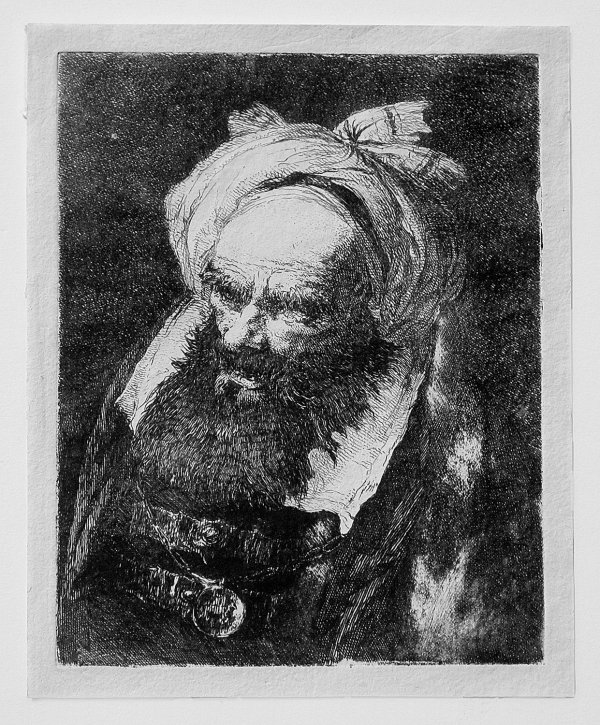 Old Man With Turban Turned Left by Giovanni Domenico Tiepolo