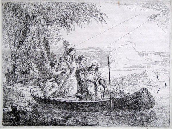 The Holy Family Embarking by Giovanni Domenico Tiepolo