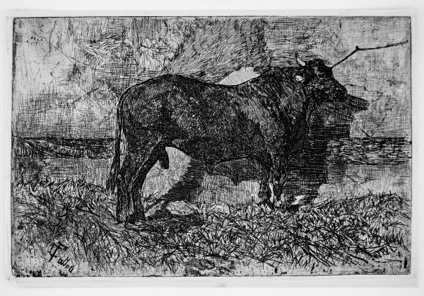The Black Bull by Giovanni Fattori at Stanza del Borgo (IFPDA)