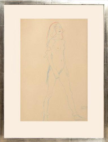 Akt Eines Jungen Mädchens. Nude Of A Young Girl by Gustav Klimt