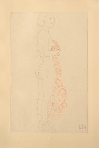 Akt, stehend, mit Tuch (rot getönt). Nude, Standing, with Cloth (red tinted). by Gustav Klimt