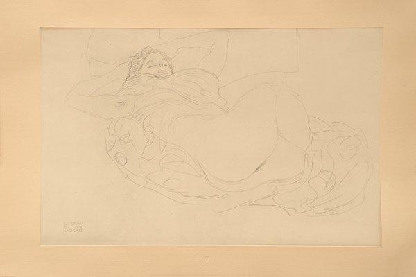 Liegender, Weiblicher Akt. Lying, Female Nude. by Gustav Klimt