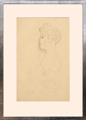 Porträtskizze. Portrait Sketch by Gustav Klimt