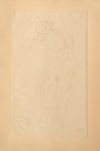 Weiblicher Akt, Stehend. Female Nude, Standing. by Gustav Klimt