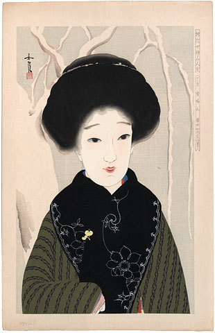 Comparison Of New Ukiyo-e Beauties: December, Clear Sky After Snow by Hamada Josen