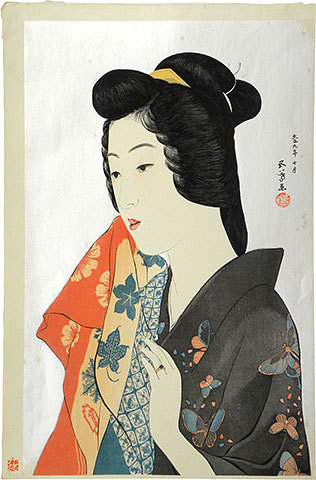 Woman With Hand Towel by Hashiguchi Goyo