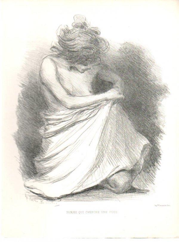 Femme Qui Cherche Une Puce / Woman Looking For A Flea by Henry Boutet