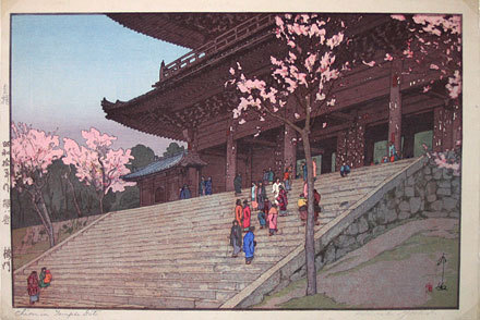 Eight Scenes Of Cherry Blossoms: Chion-in Temple Gate by Hiroshi Yoshida