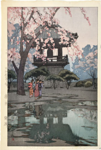 Eight Scenes Of Cherry Blossoms: In A Temple Yard by Hiroshi Yoshida at Scholten Japanese Art