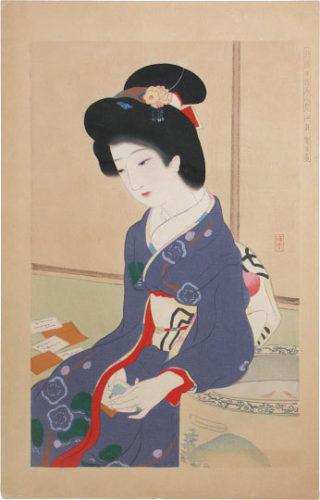 Comparison Of New Ukiyo-e Beauties: January, The Game Of Poem Cards by Ikeda Terukata