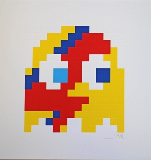 Aladdin Sane (yellow) by Invader