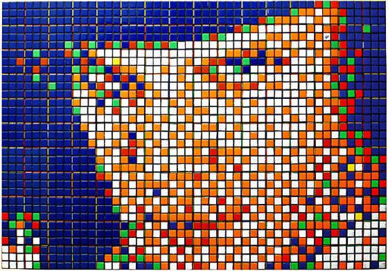 Rubik Kubrick I – Alex by Invader