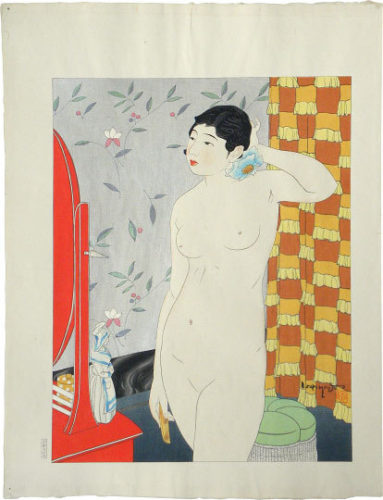 Ten Types Of Female Nudes: Springtime Of Life (youth) With Keyblock Proof by Ishikawa Toraji