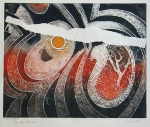Red, Orange And Black Abstraction by Jean Signovert at Gilden's Art Gallery (IFPDA)