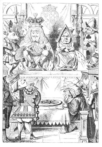 The King And Queen Of Hearts Were Seated On Their by John Tenniel