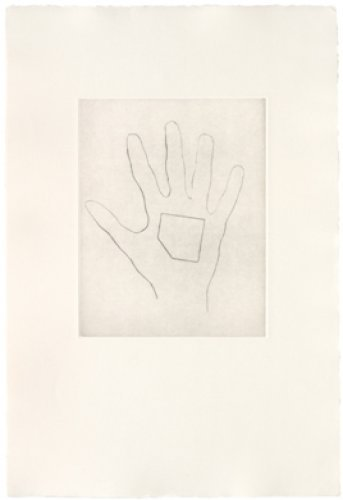 My Left Hand Holding A Square 4 by Jonathan Monk