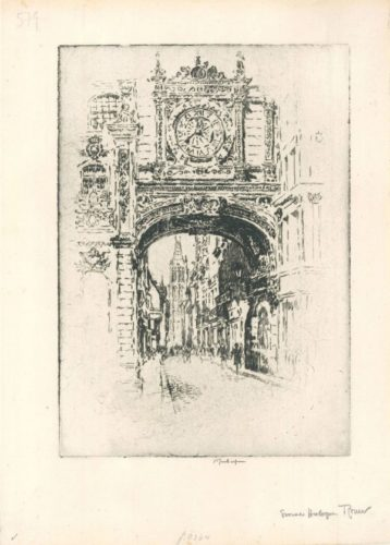 Grosse Horloge, Rouen by Joseph Pennell at