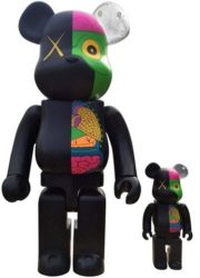 Dissected Companion: Bearbrick 400% & 100% (black) by KAWS at