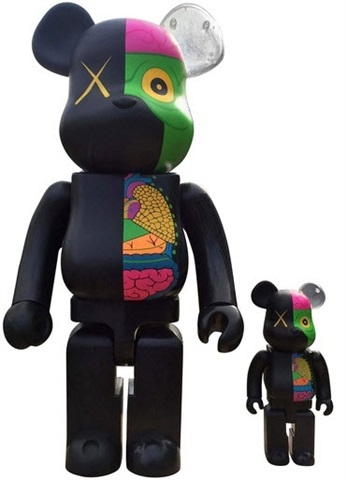 Dissected Companion: Bearbrick 400% & 100% (black) by KAWS at KAWS