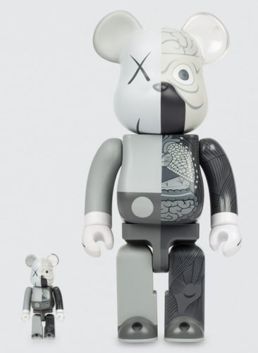 Dissected Companion: Bearbrick 400% & 100% (grey) by KAWS