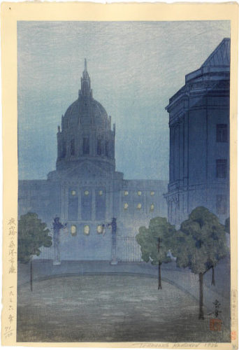Night Mist Over San Francisco City Hall by Kakunen Tsuruoka at