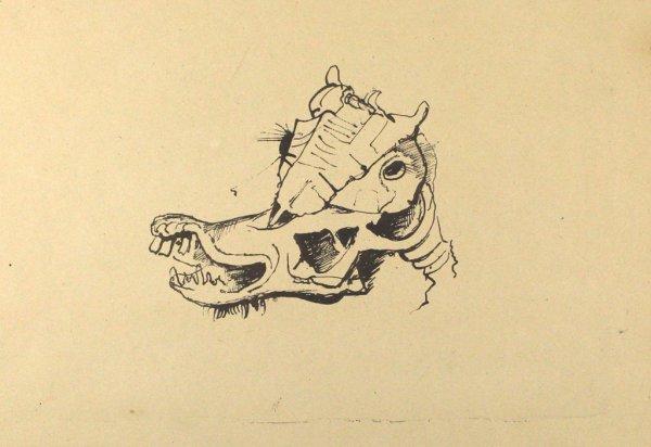 Pferdeschädel / Horse Skull by Karl Hofer