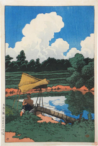 Souvenirs Of Travel, Second Series: A Water Conduit, A Scene In Sado by Kawase Hasui at