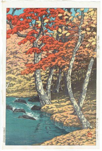 Autumn At Oirase,oirase No Aki by Kawase Hasui at