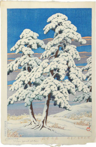 Clearing After A Snow In The Pines by Kawase Hasui