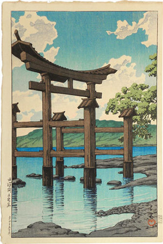 Souvenirs Of Travel, Third Series: Gozanoishi Shrine At Lake Tazawa by Kawase Hasui at Kawase Hasui