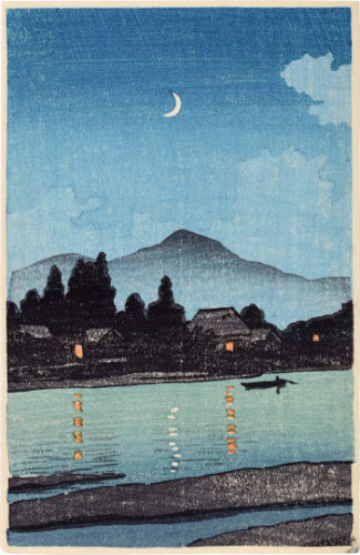 Moonlit Village Along A River by Kawase Hasui at