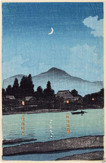 Moonlit Village Along A River by Kawase Hasui