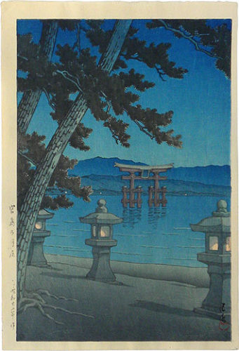 Moonlit Night, Miyajima by Kawase Hasui