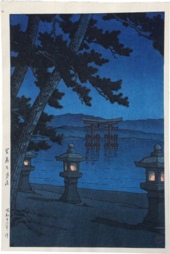 Moonlit Night, Miyajima by Kawase Hasui at