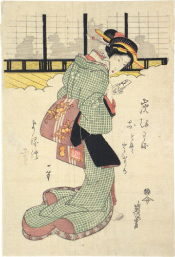 Shadows On The Shoji: Beauty Holding A Letter by Keisai Eisen