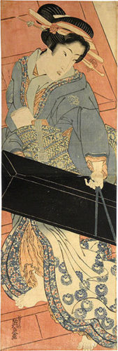 Geisha Ascending Stairs With Shamisen Box by Keisai Eisen