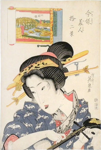 Twelve Views Of Modern Beauties: Ryogoku Bridge, Woman Of Light-hearted Appearance by Keisai Eisen