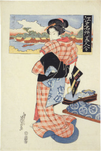 Famous Views Of Edo And Beauties Compared: Sumida River by Keisai Eisen
