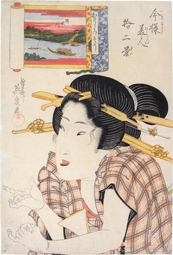 Twelve Views Of Modern Beauties: The Amused Type, Sumida River by Keisai Eisen