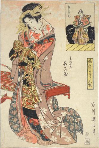 Modern Marionettes: Akoya, The Wife Of Kagekiyo And Chichibu Shigetada by Kikugawa Eizan at