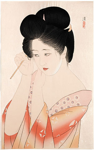 Dressing Her Hair by Kobayakawa Kiyoshi at Scholten Japanese Art