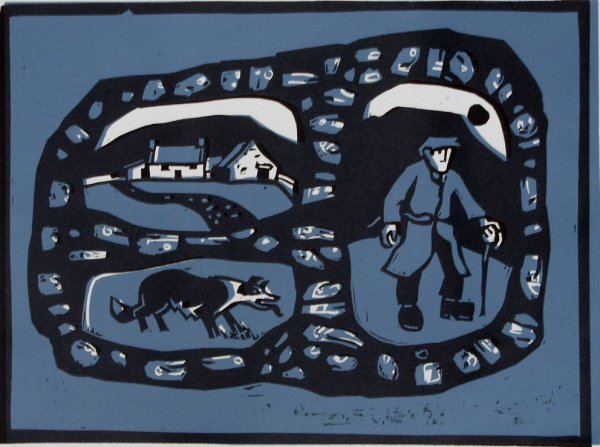 The Farmer, His Dog And His Cottage by Kyffin Williams