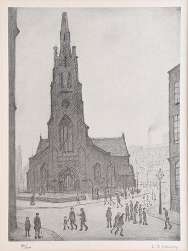 Street Scene, St. Simon's Church. by L S Lowry