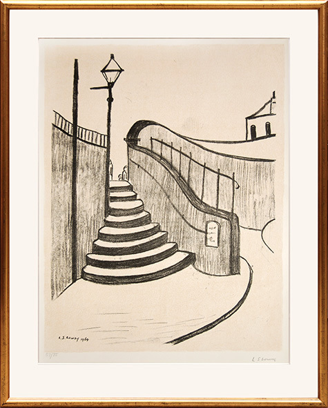 The Old Steps, Stockport by L S Lowry